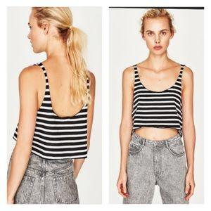 ZARA striped black & white crop top